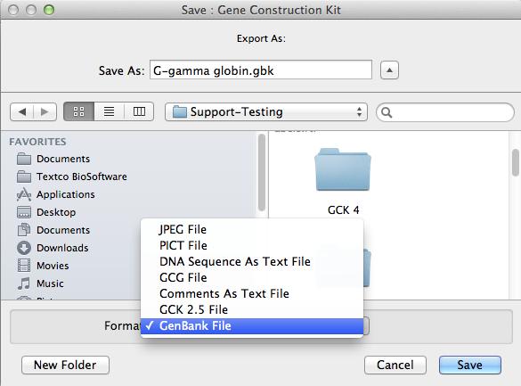 Figure 2.99:  Exporting a GCK Construct in GenBank Format