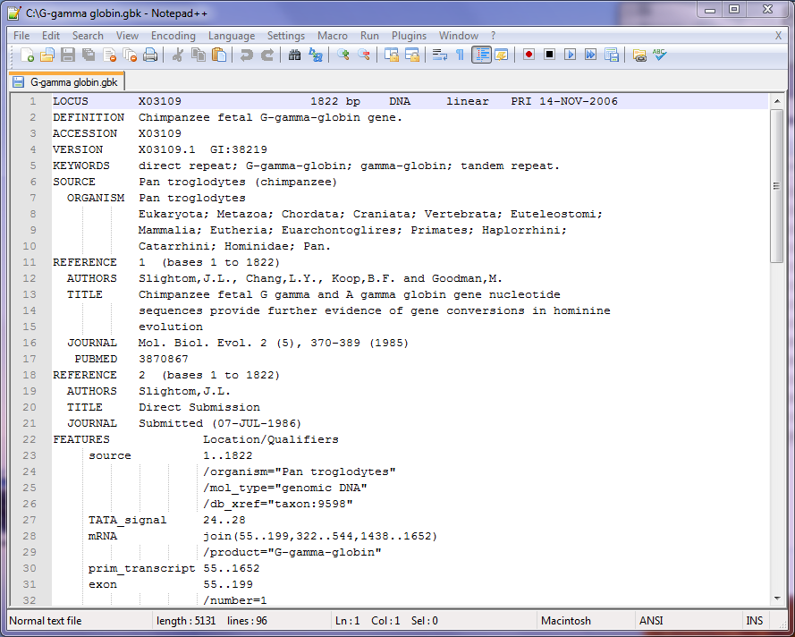 Figure 2.100:  Part of the Text File Exported in GenBank Format.